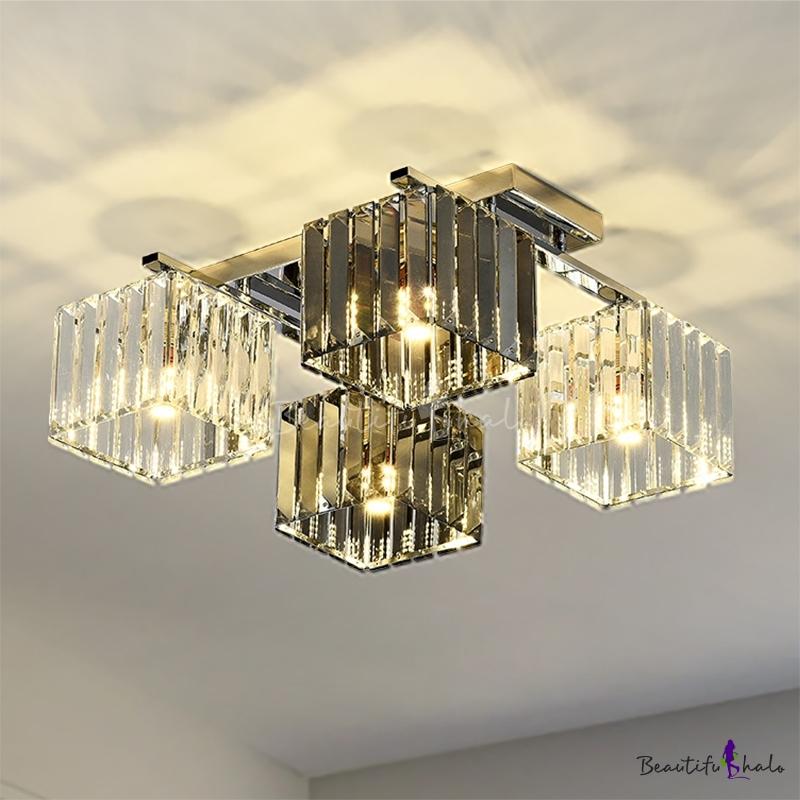 Crystal Cube Flush Ceiling Lamp Modern 4/6/9 Lights Modern Indoor Flush Light Polished Chrome