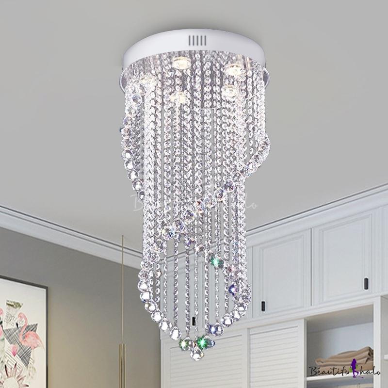 5 Lights Flush Mount Simple Spiral Crystal Flush Ceiling Light Fixture Nickel Living Room