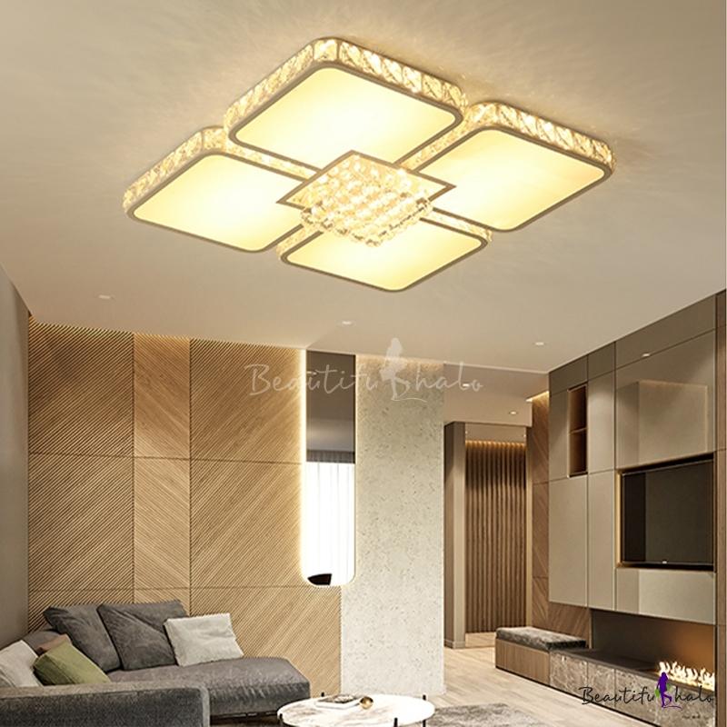 LED Square Flush Mount Lamp Modern White Crystal Ceiling Mounted Fixture Living Room White/Warm Light