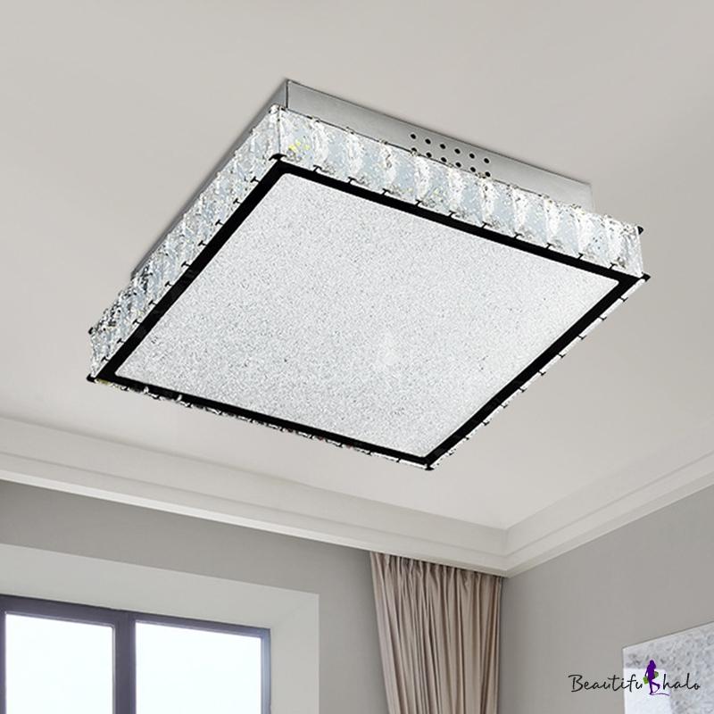 Simple Square Flush Ceiling Light Crystal LED Living Room Flush Mount Lighting Fixture White