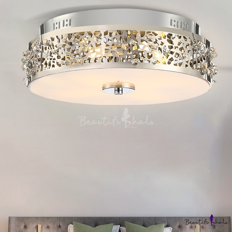 4 Lights Drum Flush Mount Simple Style Silver Crystal Ceiling Light Fixture Living Room