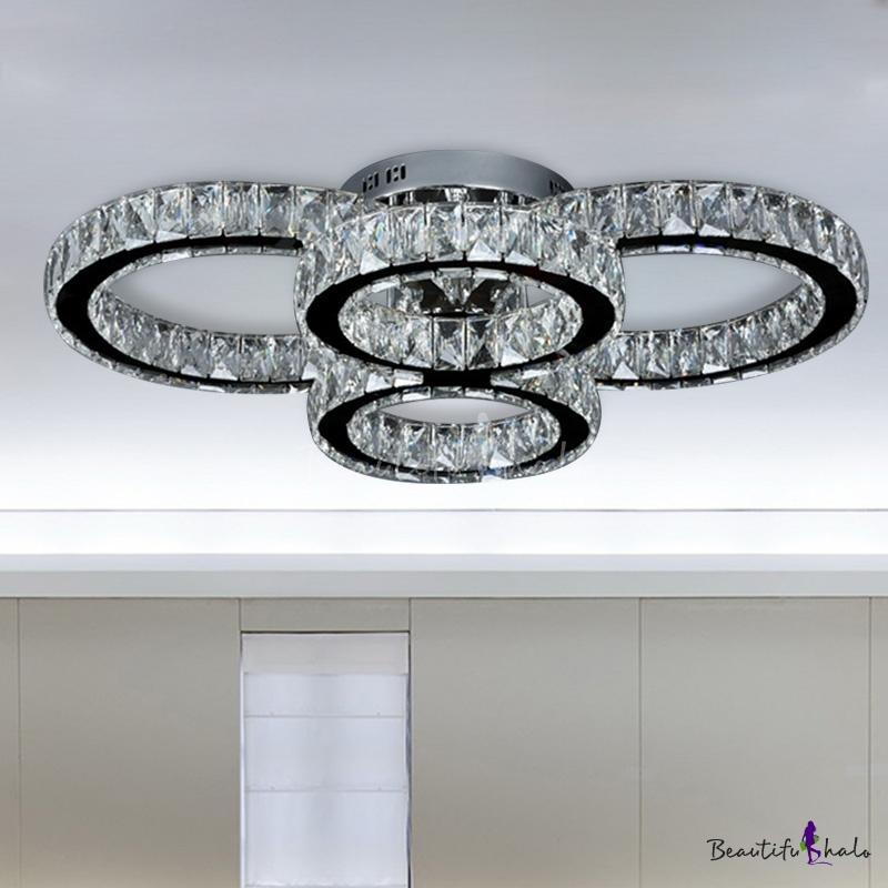 Crystal Ring Flush Mount Contemporary LED Chrome Flush Ceiling Light Living Room White/Warm Light