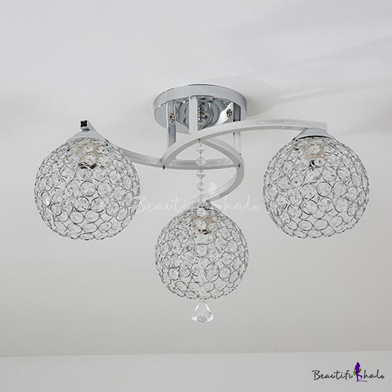 Globe Crystal Flush Ceiling Light Simple 3/5 Lights Living Room Flush Mount Lighting Chrome