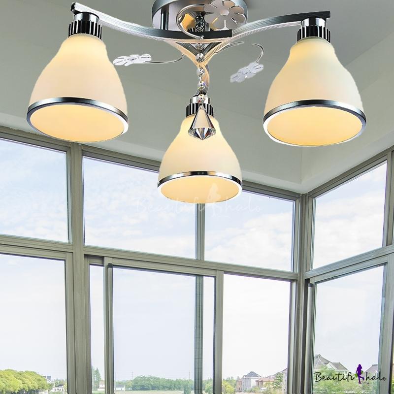 Cone Opal Glass Semi Flush Light Fixture Modern Style 3 Lights Chrome Ceiling Mount Living Room Crystal Drop