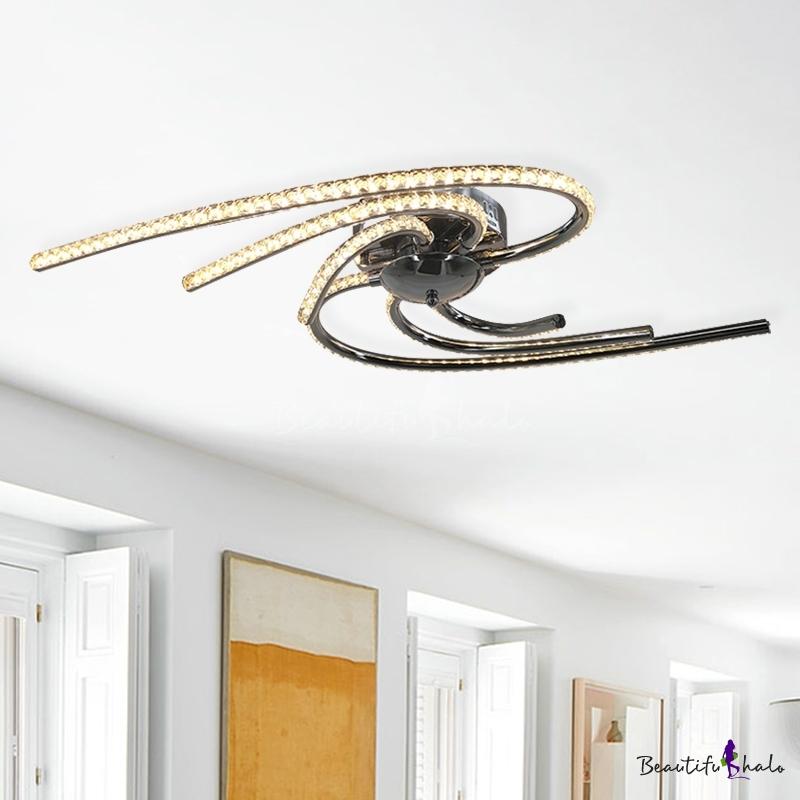 Modern Twist Crystal Semi Flush Mount LED Ceiling Light Fixture Chrome Living Room, White/Warm Light