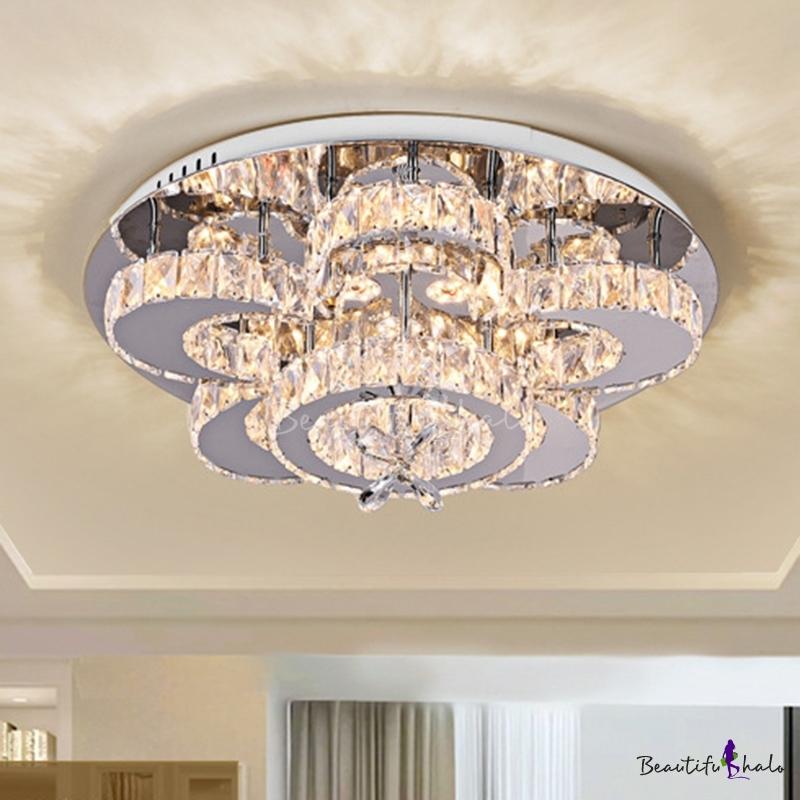 """Chrome LED Flush Mount Modern Crystal Flower Ceiling Flush Mount Living Room Chrome, 23.5""""/31.5"""" Wide"""