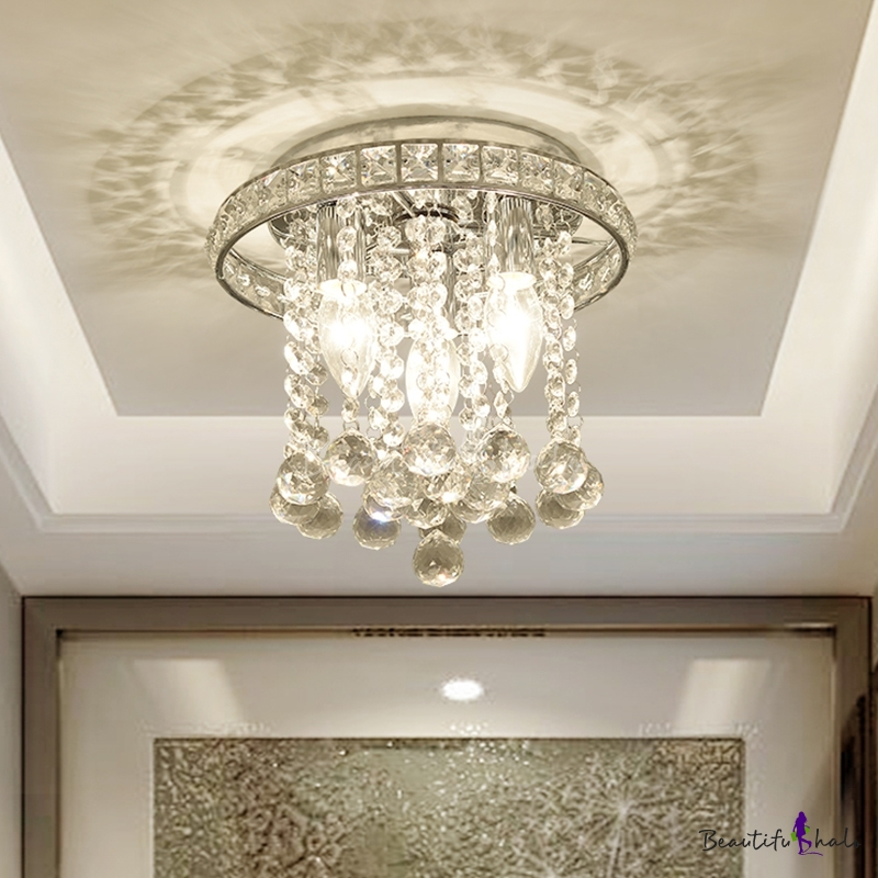 Round Ceiling Lighting Crystal Accents Contemporary 3 Bulbs Living Room Ceiling Mounted Light Chrome Finish