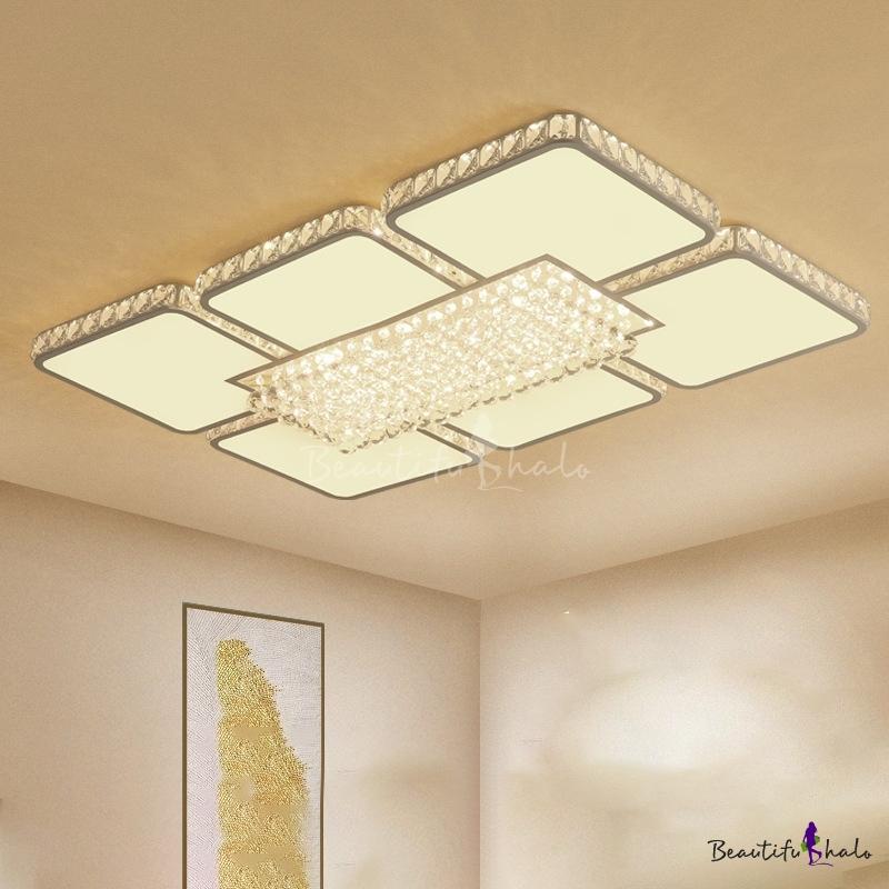 White Square Flush Mount Lighting Modern Style Crystal LED Living Room Ceiling Fixture White/Warm Light