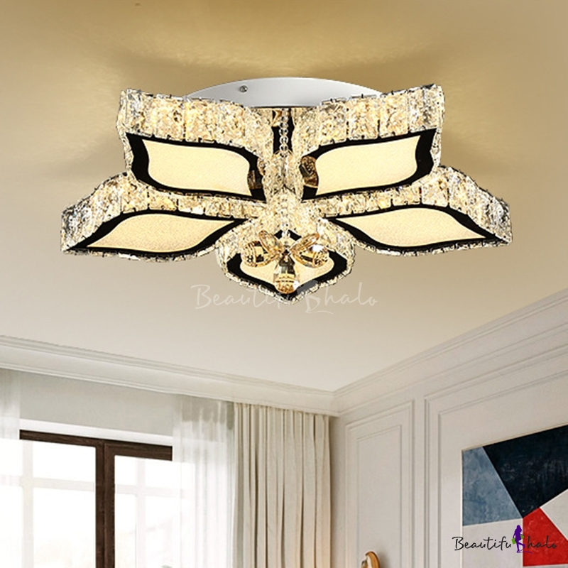 LED Living Room Ceiling Mounted Fixture Simple Chrome Flush Mount Light Flower Crystal Shade, 3 Color Light/Remote Control Stepless Dimming