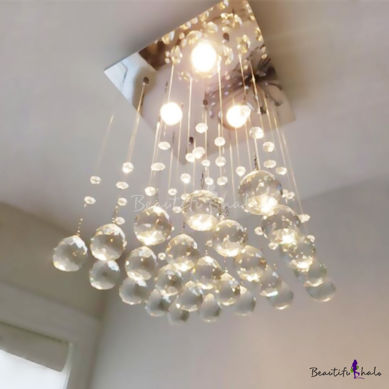 Teardrop Crystal Flush Mount Ceiling Light Simple 3 Lights Nickel Flush Mount Corridor