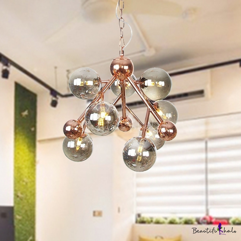 9 Lights Living Room Ceiling Lamp Industrial Copper Chandelier Pendant Light Globe Amber/Clear/Smoke Gray Glass Shade