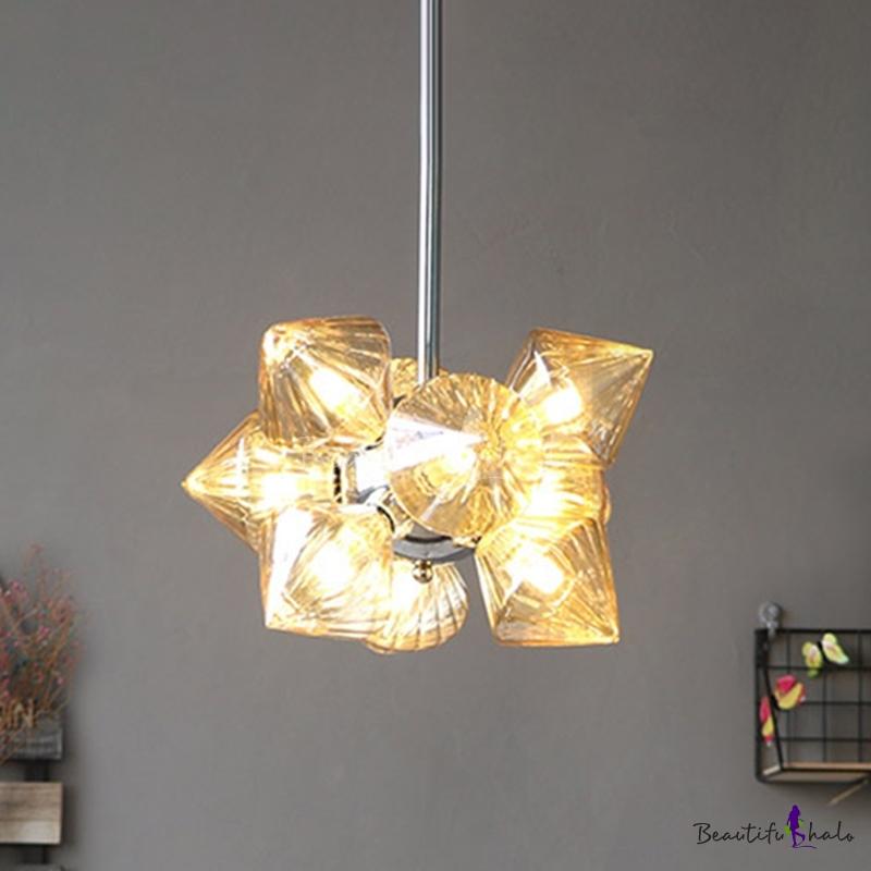 9/12 Lights Living Room Chandelier Modernist Chrome Pendant Light Diamond Amber Glass Shade