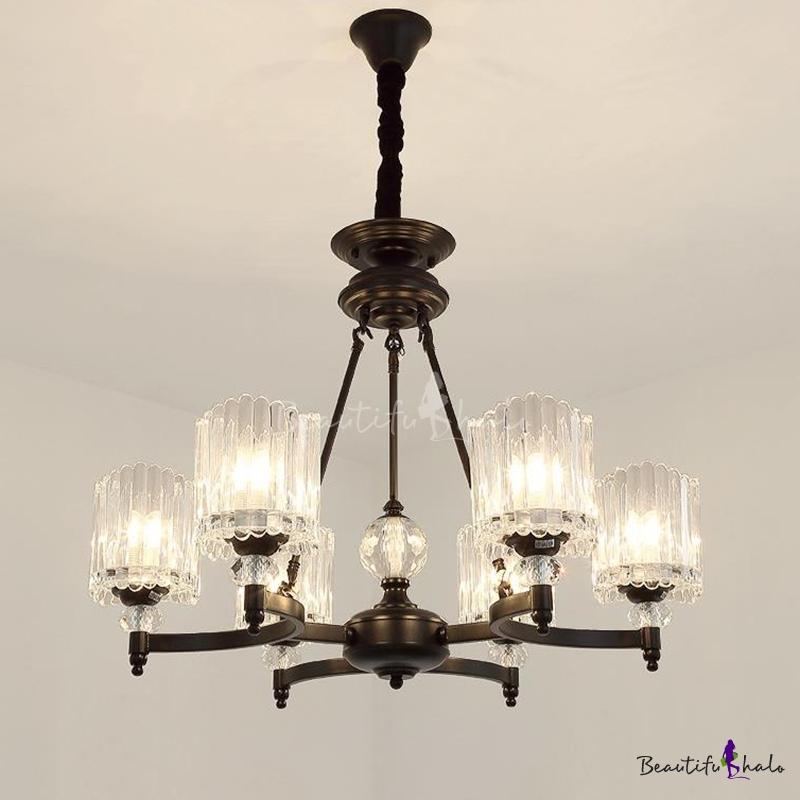 Cylinder Hanging Chandelier Modern Crystal 6/8/10 Lights Living Room Pendant Lighting Fixture Black
