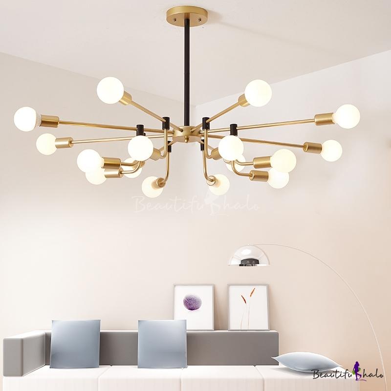 Brass Radial Chandelier Lamp Metal Post Modern Indoor Hanging Light Living Room