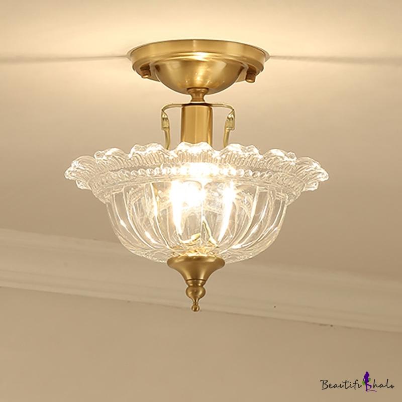 Amber/Clear Glass Semi Flush Light Modern Bowl Semi Flush Mount Ceiling Light Brass Corridor