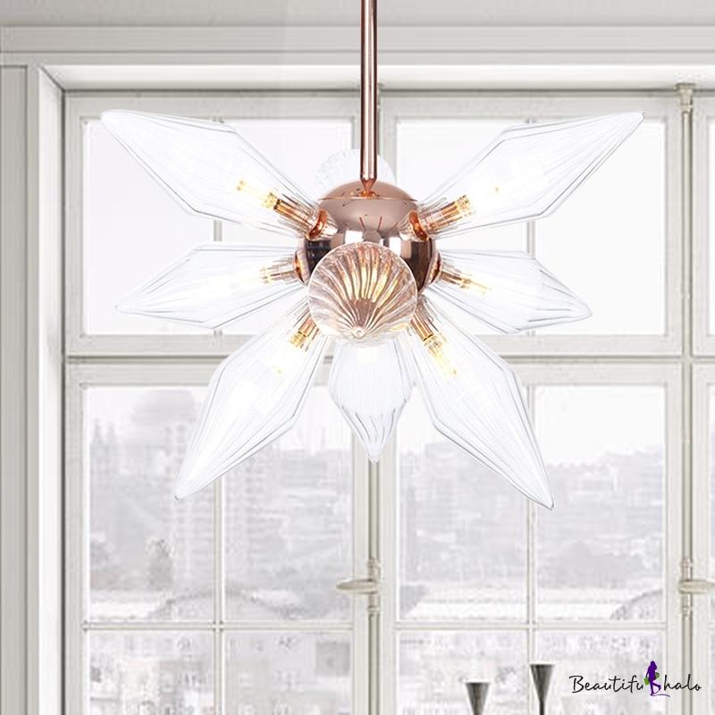 Sputnik Amber/Clear Glass Chandelier Lamp Industrial Style 9/12/15 Lights Brass/Copper Finish Pendant Light Fixture Living Room