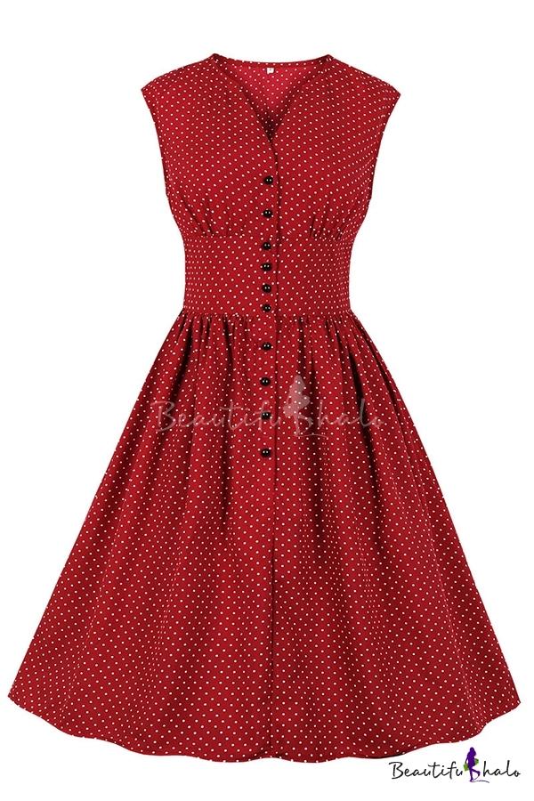 New  Women Dress Casual Plus Size V-neck Sleeveless PolkaDot Printed Button Belt