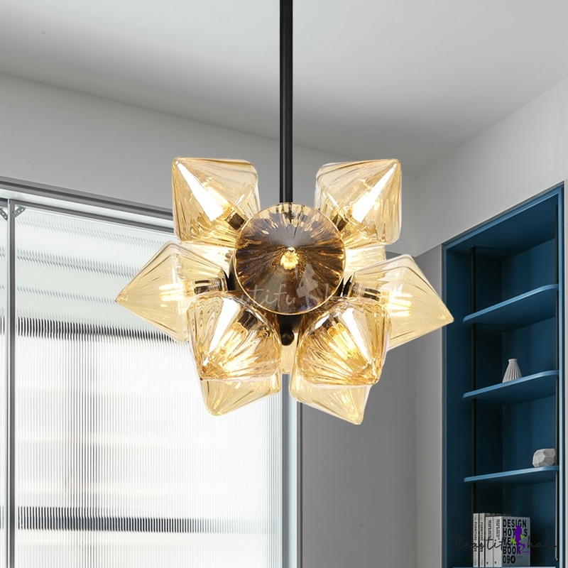 9/12 Lights Ceiling Lighting Industrial Prism Clear/Amber Glass Semi Flush Black/Chrome Dining Room