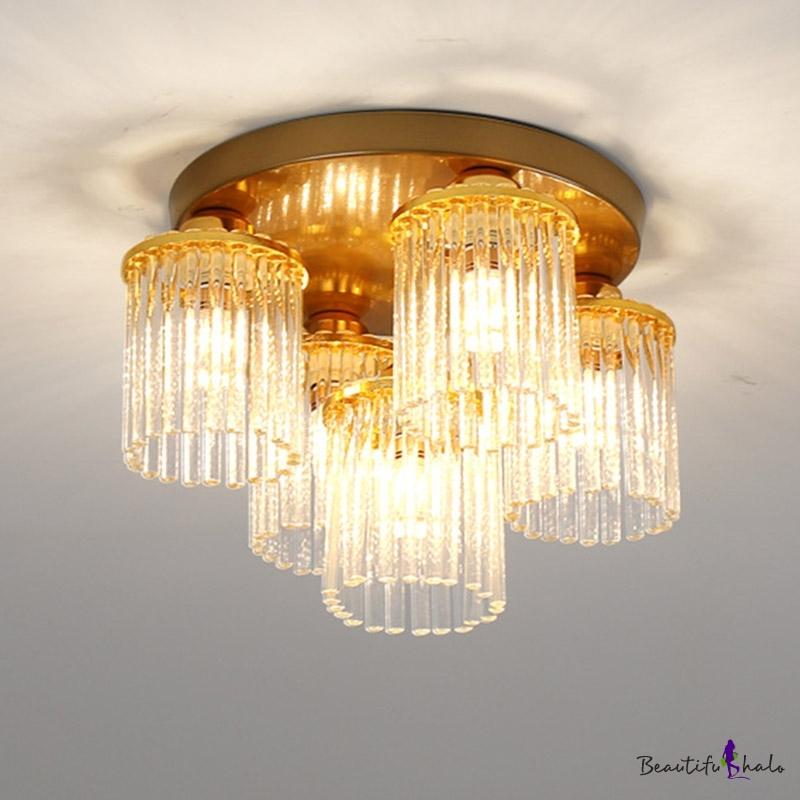 Contemporary Cylinder Flush Mount Crystal 5/10/12 Lights Living Room Flush Ceiling Light Brass