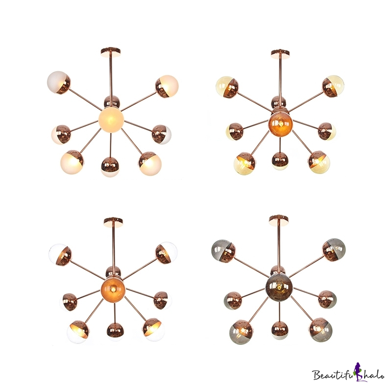 White/Clear/Amber Glass Sputnik Semi Flush Mount Modern 9/12/15 Lights Semi Flush Ceiling Light Copper/Chrome/Gold Living Room