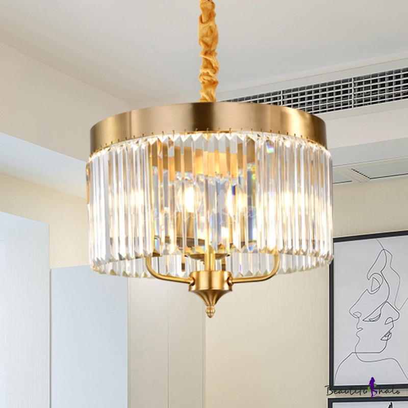 Modern Cylindrical Hanging Chandelier Faceted Crystal 3 Bulbs Ceiling Pendant Light Brass