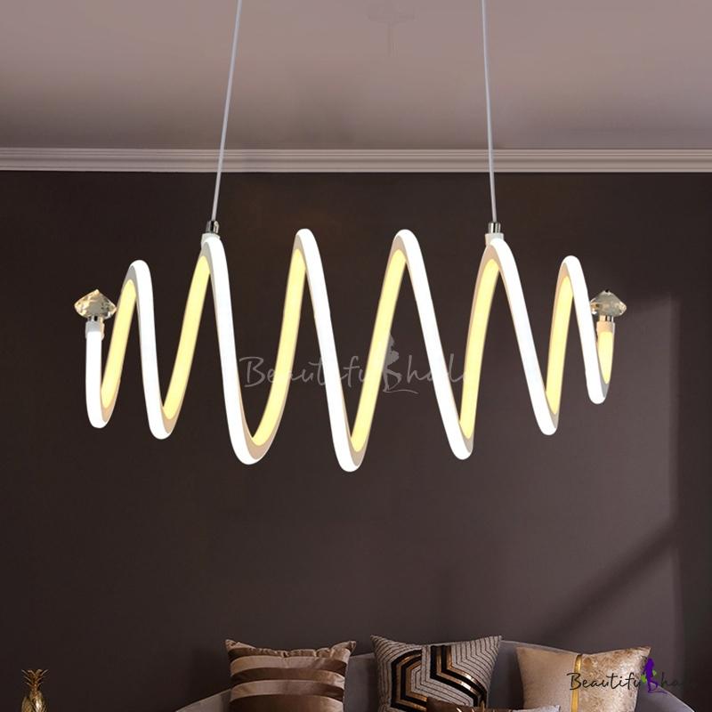 Spiral Hanging Ceiling Light Modern Metal Integrated Led Indoor Chandelier Living Room