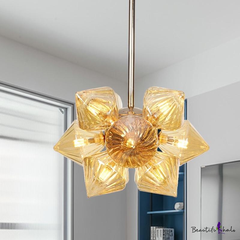 Prism Living Room Semi Flush Light Classic Clear/Amber Glass 9/12 Lights Gold Ceiling Lighting