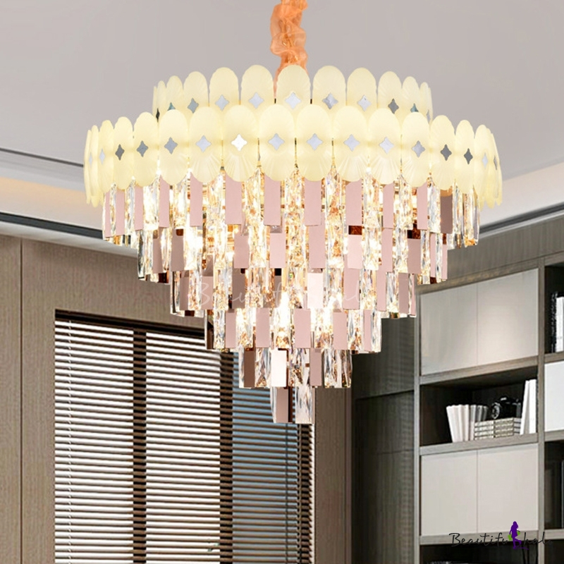 Cone Living Room Chandelier Pendant Light Clear Crystal 12/16/22 Lights Contemporary Ceiling Lamp
