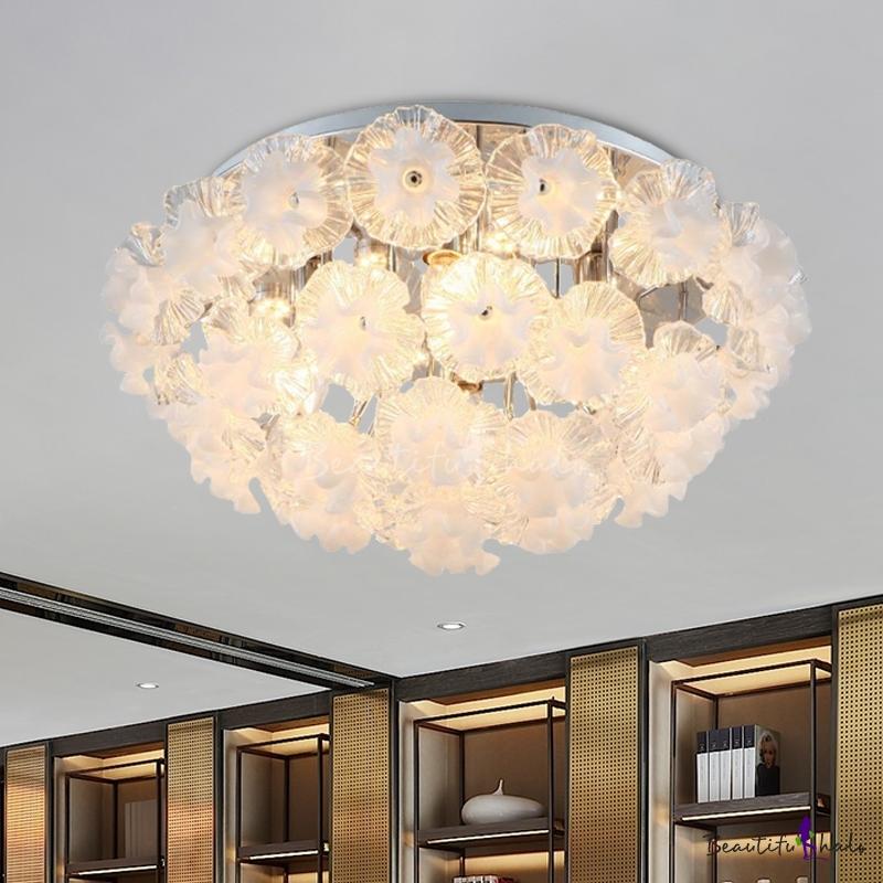 4 Lights Living Room Ceiling Flush Mount Chrome Flush Mount Lighting Fixture Flower Clear Crystal Glass Shade