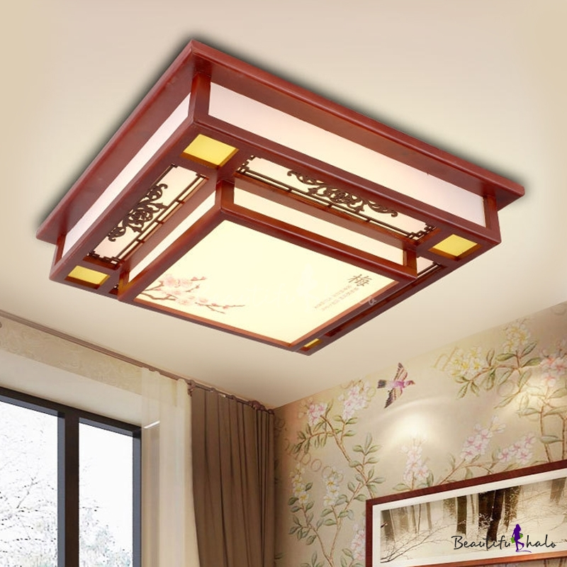 Red LED Flush Mount Light Traditional Wooden Square Ceiling Fixture Acrylic Shade Living Room