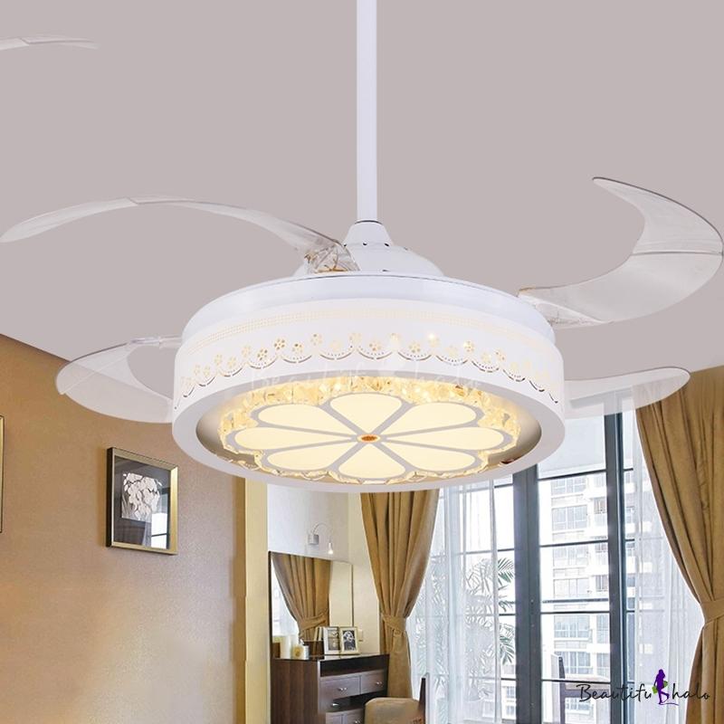 "LED 42"" W Pendant Fan Lighting Modern Living Room Semi Flush Mount Ceiling Light Drum Acrylic Shade White, 4 Clear Blades"