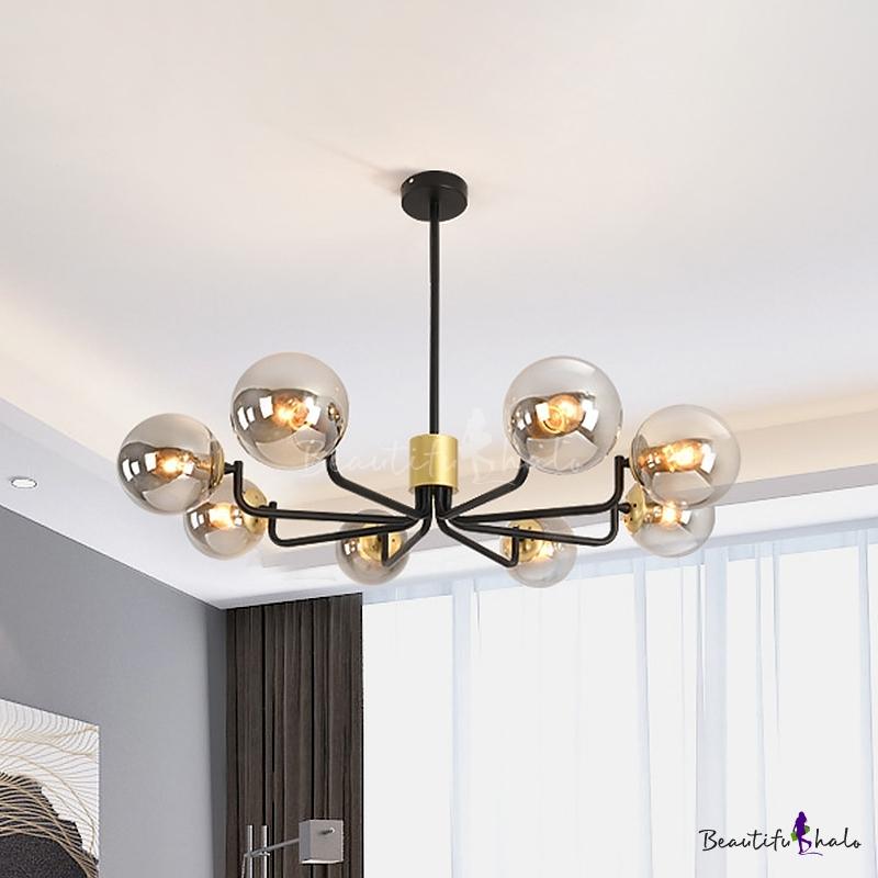 Contemporary 8 Lights Pendant Grey Glass Shade Brass Globe Chandelier Lamp Living Room