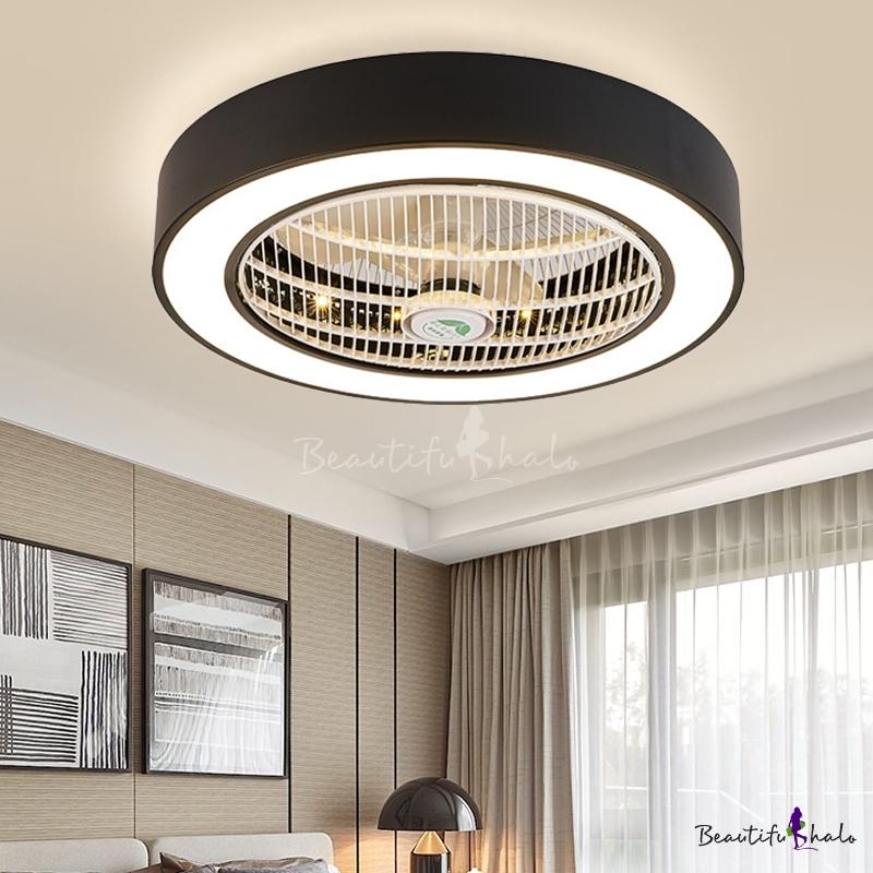"Drum Living Room Semi Flush Light Fixture Modern Acrylic White/Black Finish LED Ceiling Fan Lamp 6 Blades, 23.5"" Wide"
