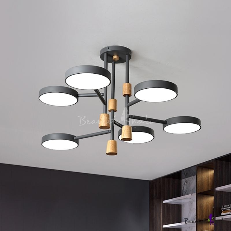 Metal Round Semi Flush Mount Light Modern Macaron 6 Lights Grey/Green/White Finish LED Flush Ceiling Lamp Living Room
