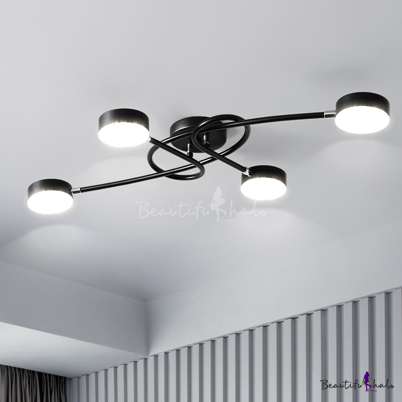 Black Drum Shaped LED Flush Light Contemporary Acrylic Semi Flush Mount Ceiling Fixture Twisting Branch Living Room