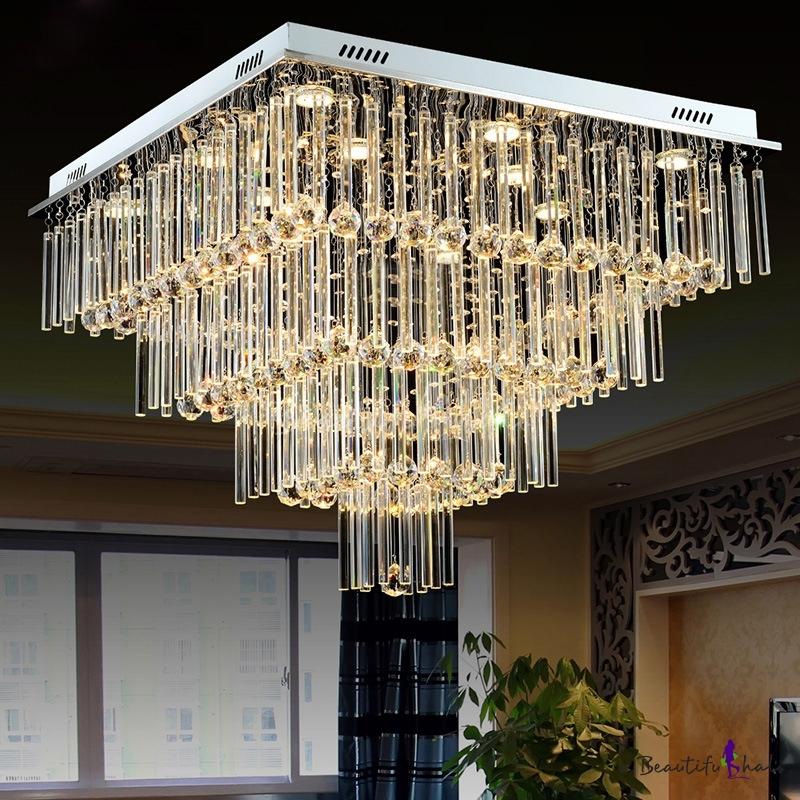 4-Tier Square Living Room Flush Mount Modern Crystal Rod Ball LED Chrome Ceiling Mounted Light