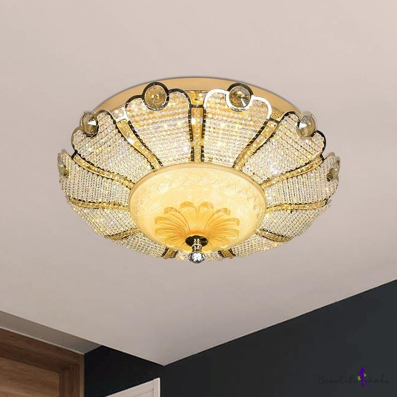 """Bowl Crystal Bead Flush Light Modern Style Living Room LED Flush Mount Lighting Gold, 16""""/19.5"""" W"""