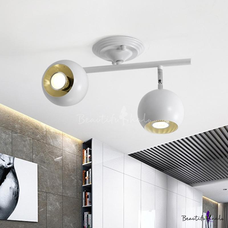 2 Lights Living Room Semi-Flush Mount Light Modern White Finish Ceiling Lamp Fixture Globe Metal Shade