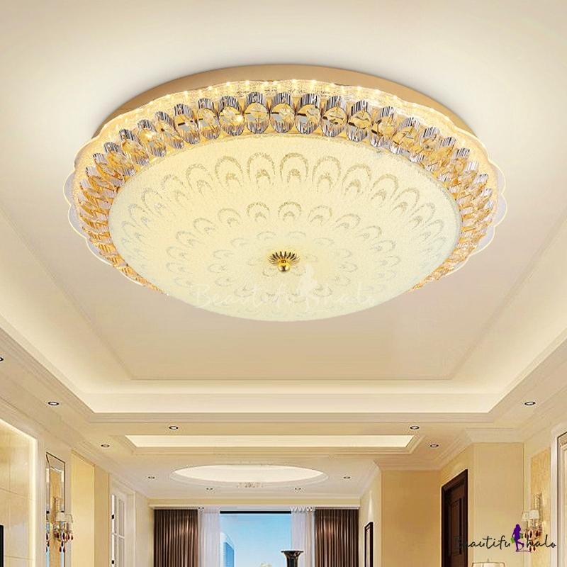 """Bowl Living Room Flush Ceiling Light Modern Crystal LED Gold Flush Mount Peacock Tail Pattern, 16""""/19.5"""" W"""