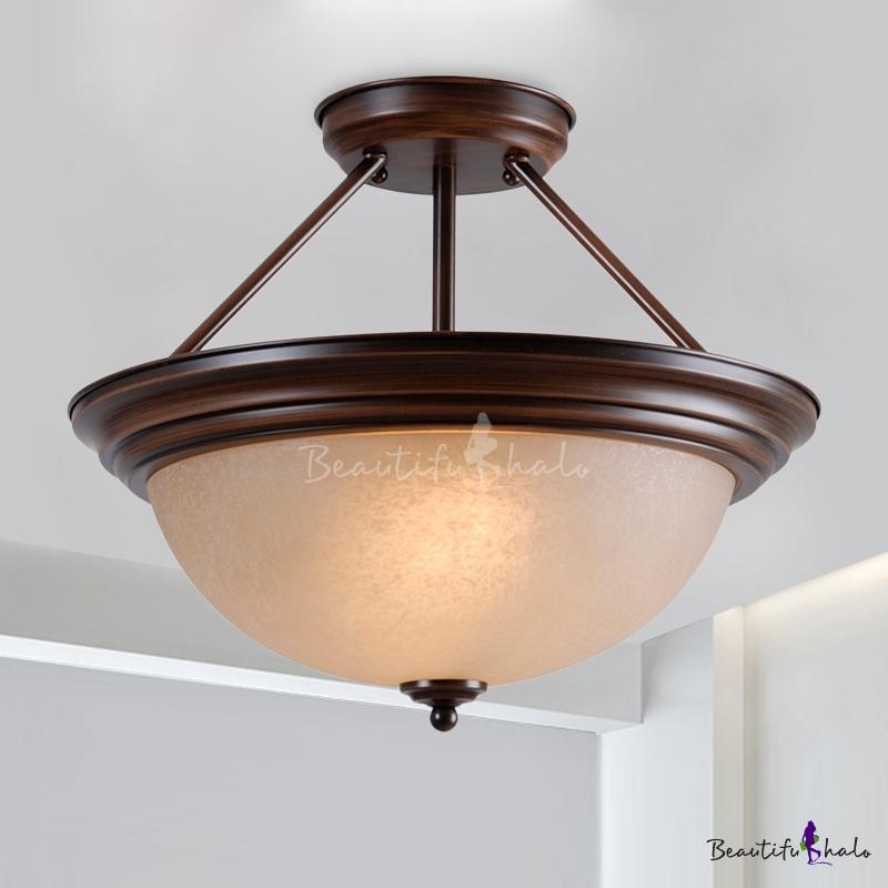 2-Light White/Amber Glass Semi Flush Classic Black Bowl Living Room Ceiling Mount Lighting