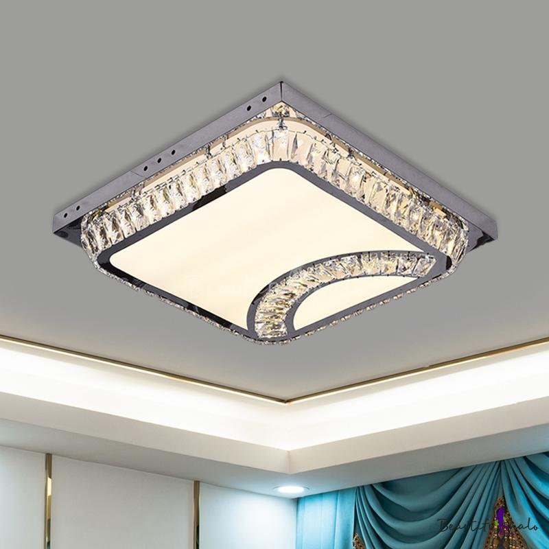 Cut Crystal Square Flush Mount Modern LED Living Room Ceiling Light Fixture Chrome