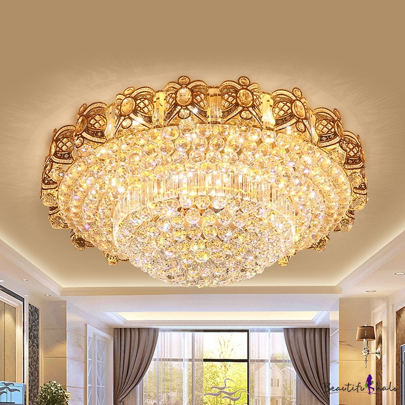 Gold Layered Flush Mount Lamp Simple Crystal Orb LED Living Room Ceiling Light Fixture