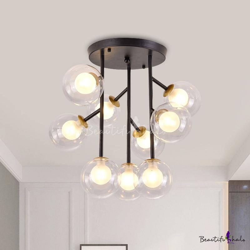 Clear Glass Orb Semi Flush Ceiling Light Modernist 9/12 Lights Flush Lamp Fixture Black/Gold Living Room