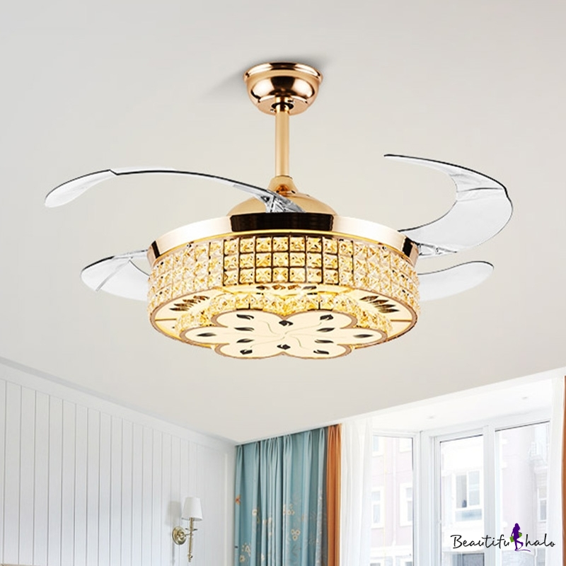 4 Blades Round Bedroom Ceiling Fan Light Crystal Block Led Modernist Semi Flush Mount In Gold 42 Wide Beautifulhalo Com