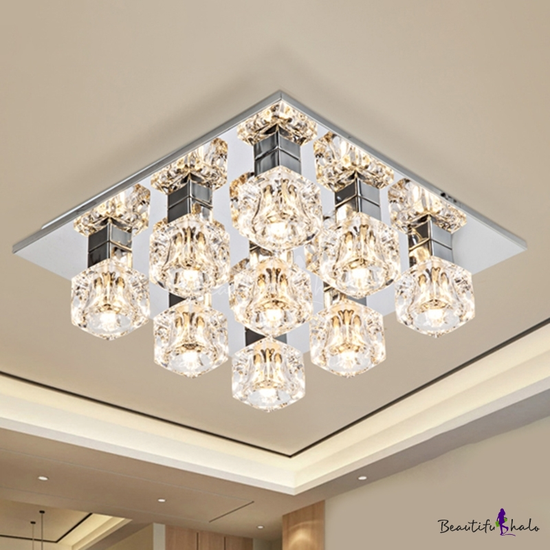 Modern Square Flush Mount 9 Bulbs Clear Crystal Block Ceiling Mounted Light Living Room