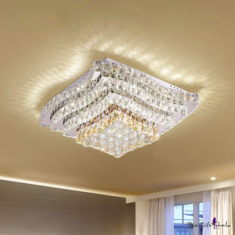 Wavy Tiered Square LED Flush Mount Modern Chrome Crystal Embedded Ceiling Light Fixture