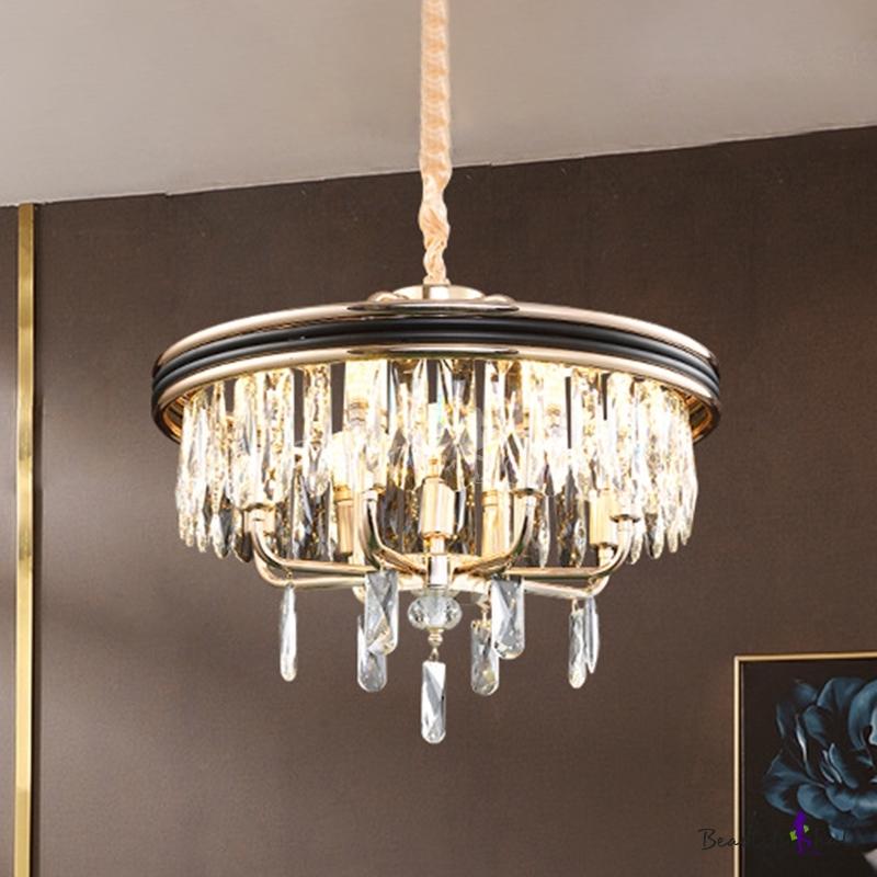 Modern Stylish Drum Chandelier 7 Lights Strip Crystal Hanging Pendant Black Living Room
