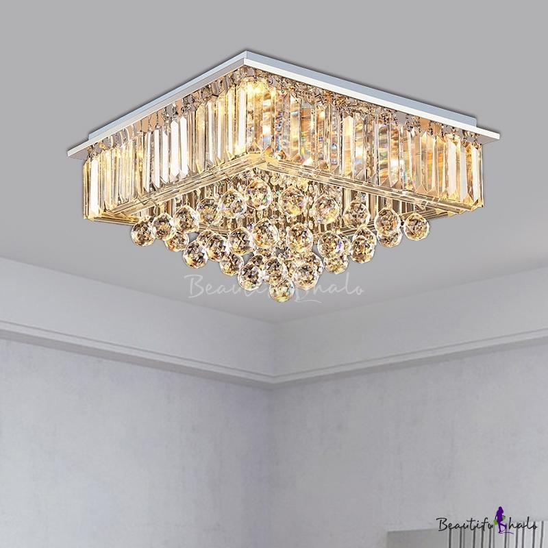 Square Living Room Flush Mount Modern Crystal Ball 5 Bulbs Chrome Flush Ceiling Light Fixture