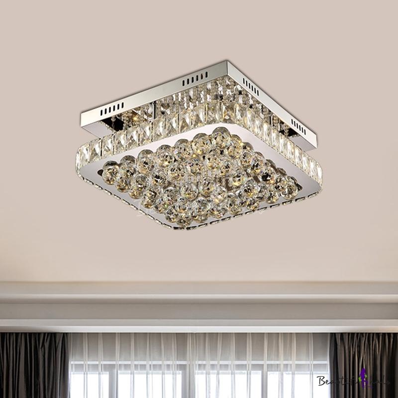 LED Flush Mount Modern Square Clear Crystal Ball Flush Ceiling Light Fixture Hallway