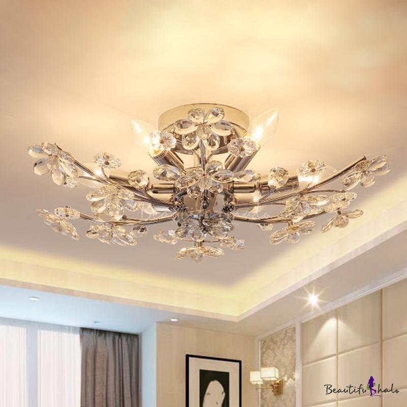 Flower Branch Living Room Flush Mount Modern Crystal 6 Heads Chrome Finish Semi Flush Ceiling Light